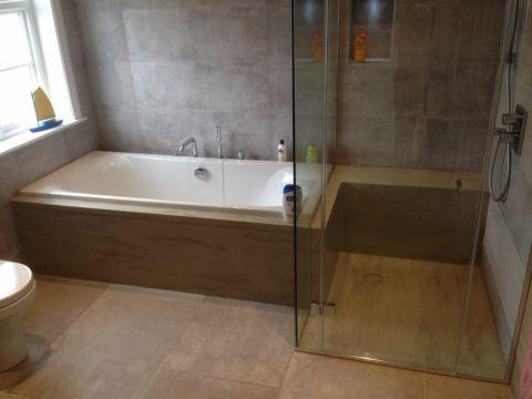 Corian Sagebrush Bath Surround and Integral Shower Seat