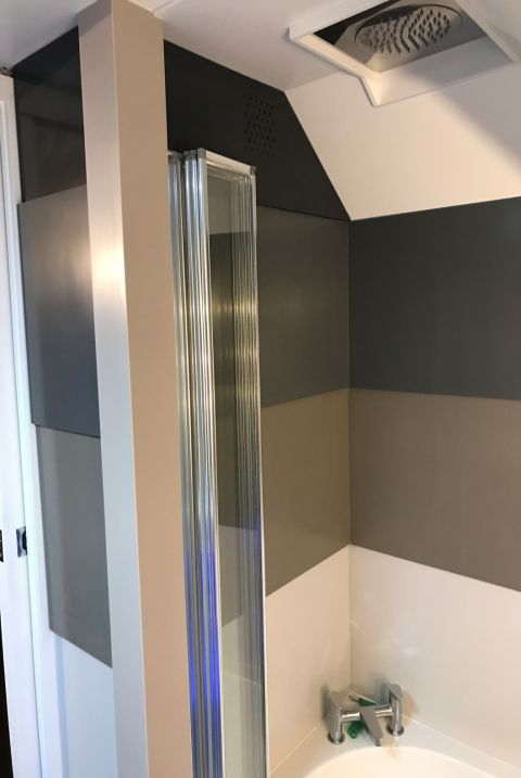 Corian Coloured Stepped Wall Panelling