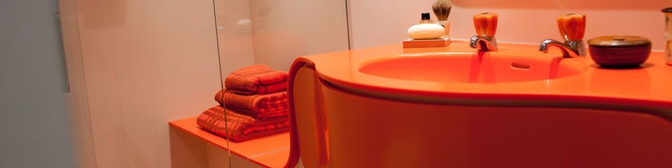 Solidity orange bathroom