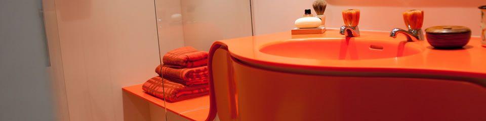 Solidity orange bathroom