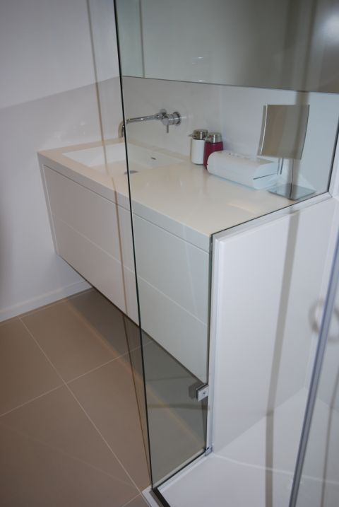 HI-MACS Alpine White Bespoke Wrapped Vanity Unit