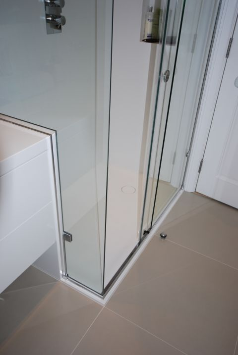 Shower Wall Panel Junction with Vanity Top