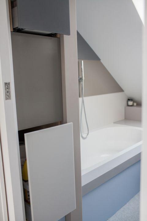 Built In Corian Bathroom Storage