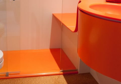 Coloured Shower, Shower Seat & Vanity Unit