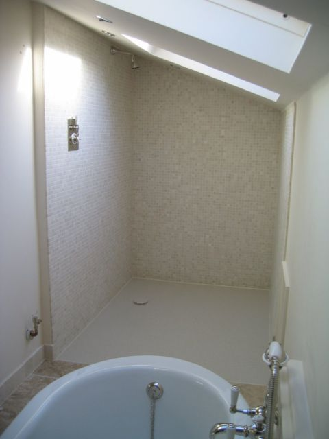 Wet Room Floor with Mosaic Tiled Walls