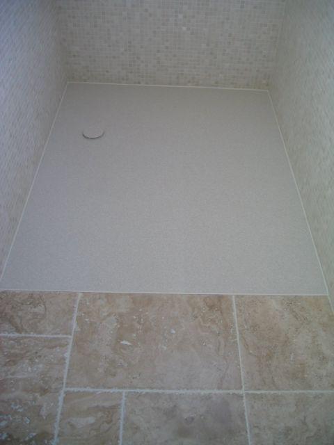 Wet Room Floor Junction with Stone Tiles