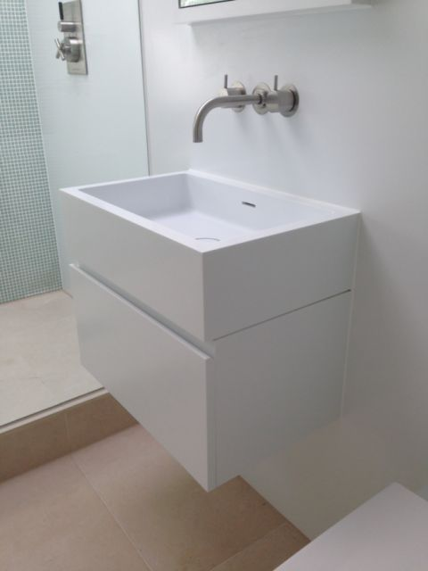 Corian Basin and Vanity Unit with Finger Pull Detail