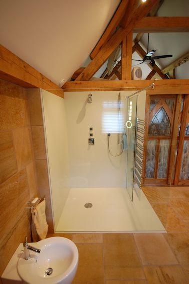 Corian Shower Enclosure in Green Oak Newbuild