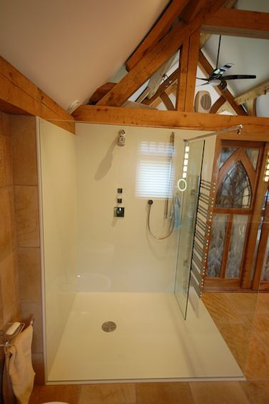 White Corian Wetroom Floor and Wall Panels