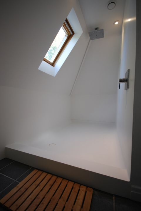Bespoke Shower Tray with Coved Base to Wall Panels