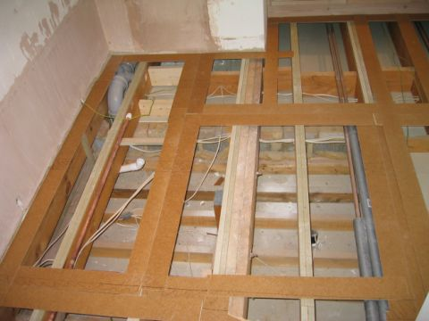 plywood template of wet room floor