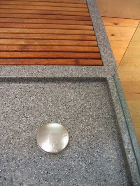 Grey Bespoke Shower Tray with Iroko Duck Board