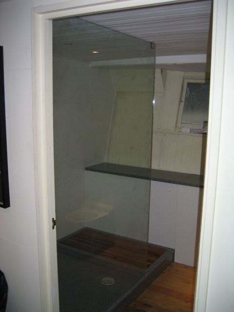 Made to Measure Shower Tray and Seat on a Barge