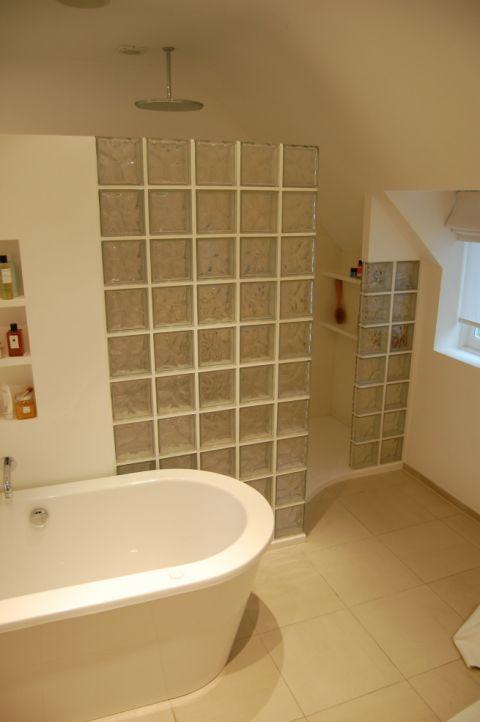 Shower Area behind Glass Blocks