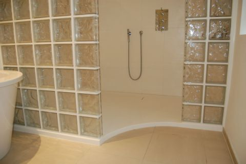 Custom Made Curved Shower Floor with Trough Waste