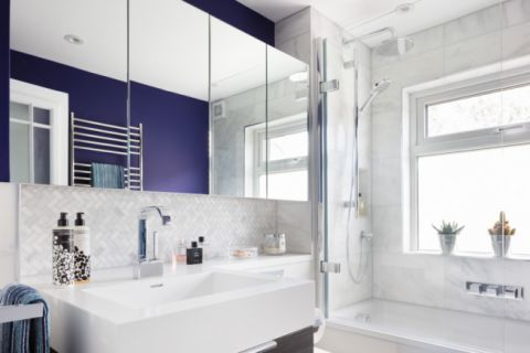 Contemporary Bathroom with White Corian Vanity Top & Bowl