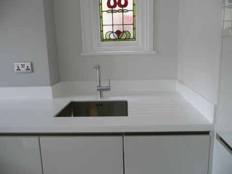 Stainless Steel Sink in Corian Worktop with Drainer Grooves