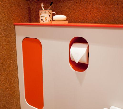 Hi-MACS WC panel with integral cupboard