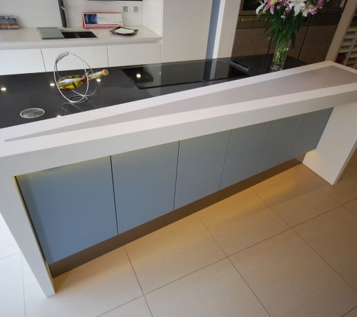HI-MACS Alpine White & Grey Underlit Breakfast Bar