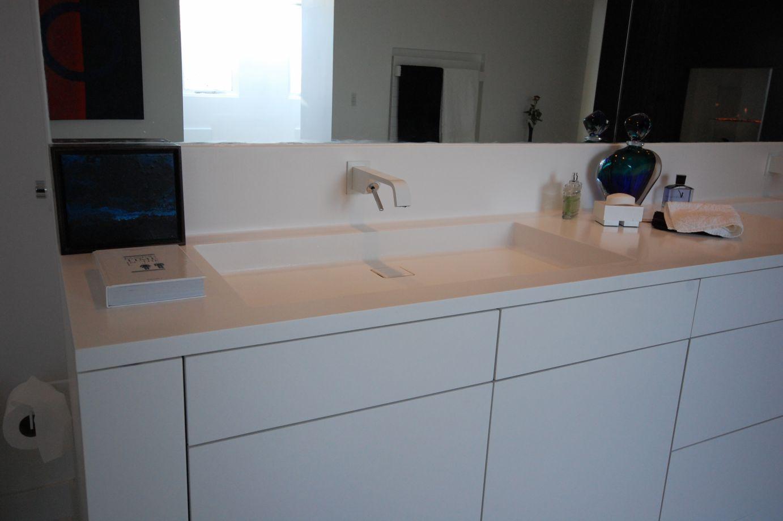 Large Bespoke Bath and Bathroom Furniture in Alpine White HI-MACS ...