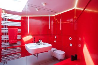 Krion Happy Red Bespoke Bath and Walls