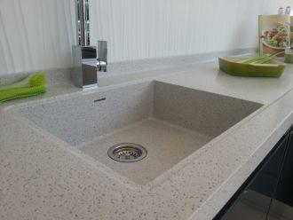Flat Recessed Drainer & Corian Bespoke Quadro Sink