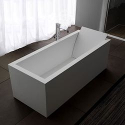 Solid Surface, White Custom bath with Backrest