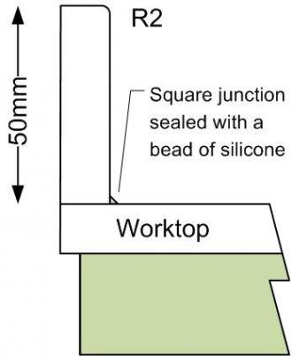 Corian/HI-MACS 50mm square upstand
