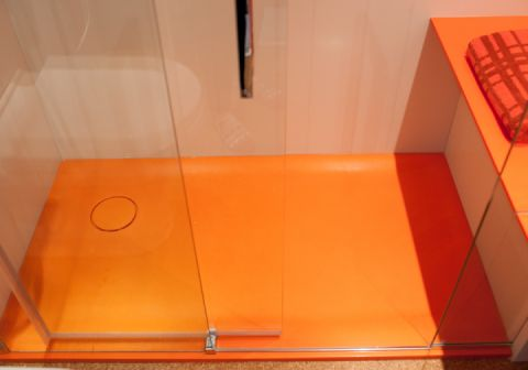 Orange Coloured Shower Tray