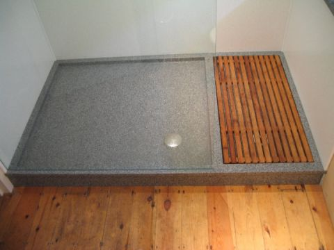 Grey Shower Tray with integral Duck Board