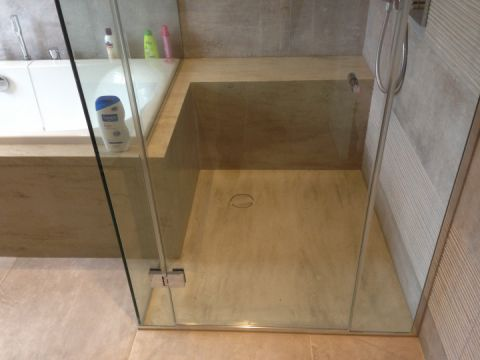 Marble Effect Custom Shower Tray with Integral Shower Seat & Bath Surround
