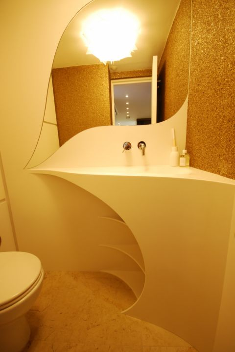 Bespoke Vanity Top with Curved Splashback & Shelving